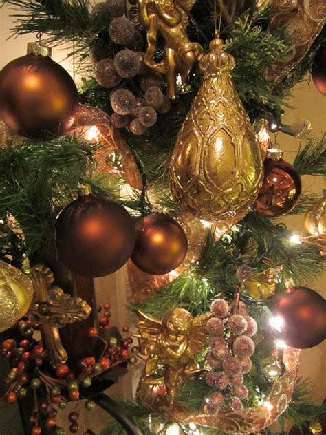christmas tree decorations gold brown embellishments by slr 2011 mantel