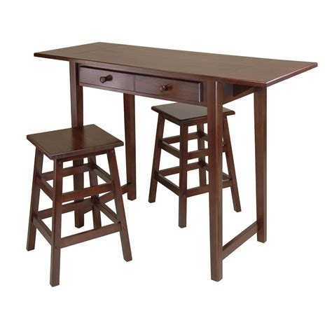 winsome mercer drop leaf table with 2 stools amazon com winsome mercer drop leaf table with 2