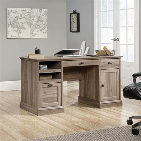 sauder barrister lane l shaped desk executive desk in salt oak 418299