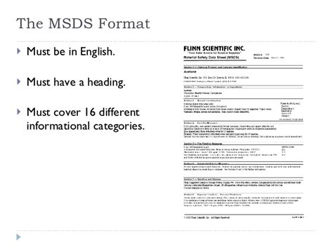 msds 16 section format nfpa and msds
