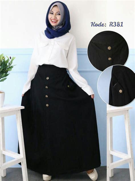 Diskon Besar Besaran Rok Panjang Maxi Denim All Size rok hitam kancing depan r381 nonasa