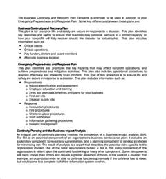 Business Continuity Plan Template For Manufacturing by Sle Continuity Plan Template 7 Free Documents