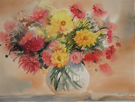 dalie in vaso acquerelli fiori