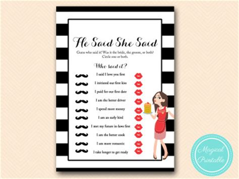 libro he said she said the modern housewife bridal shower game pack magical printable