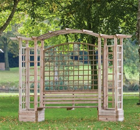 Wood Arbor Bench 2 5m 8ft 2 In Wooden Pergola With Bench Planters And