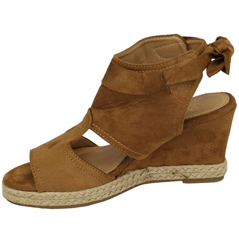 tie up wedge sandals wedge heel sandals suede look platform espadrilles