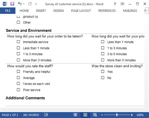 word survey form template customer service template for word