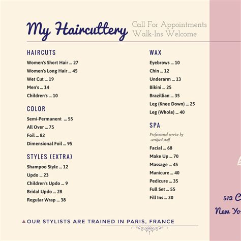Salon Menu Templates From Imenupro Hair Salon Menu Templates