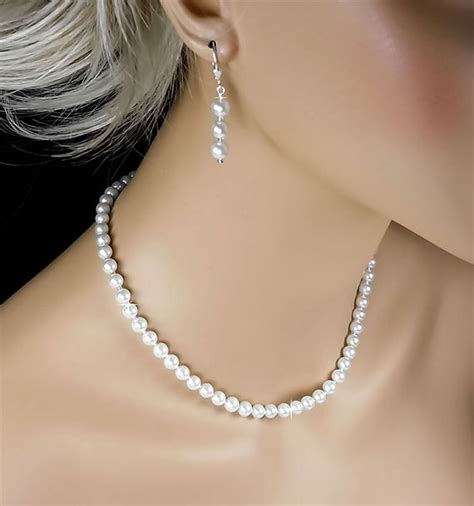 items similar to pearl bridal set white pearl necklace