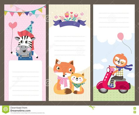 Animal Small Gift Cards Template by Greeting Cards Templates Stock Vector Image 73069690
