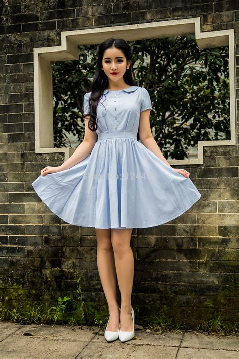 Summer Dress Vintage Look 2015 new summer dress 1950s 60s 70s vintage style plaid pattern pin up dress circle swing