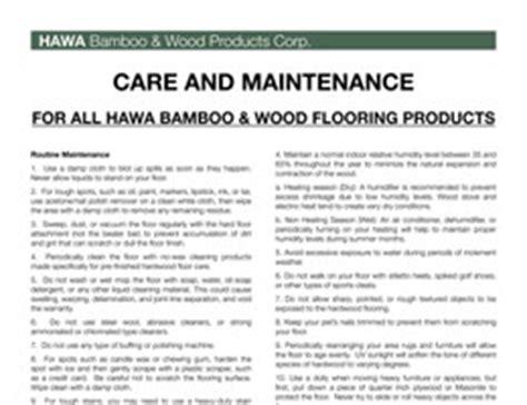 Hawa Bamboo Flooring Warranty and installation Instructions