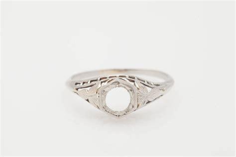 antique 1920s 50ct 18k white gold filigree ring setting