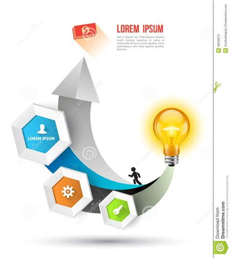 bulb arrow hexagon icons long shadows royalty free stock
