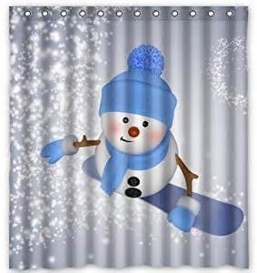 Snowman Kitchen Curtains Unique Custom Winter Day Snowman Waterproof Polyester Fabric Shower Curtain 66 Quot X72