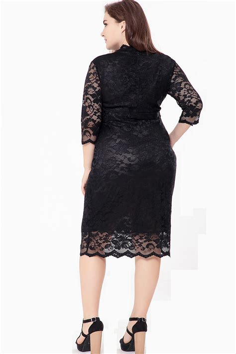 Hollow Out Dress kettymore plus size hollow out lace dress black