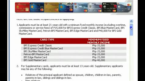 apply  bpi credit card  youtube