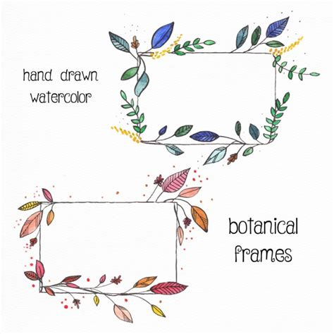 Lukisan Doodle A4 Colour Tidak Background Frame 2 floral frames with watercolors vector free