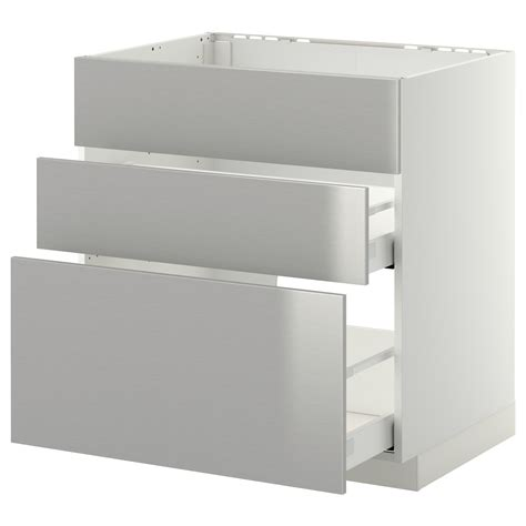 Stainless Steel Drawer Fronts by Metod Maximera Base Cab F Sink 3 Fronts 2 Drawers White
