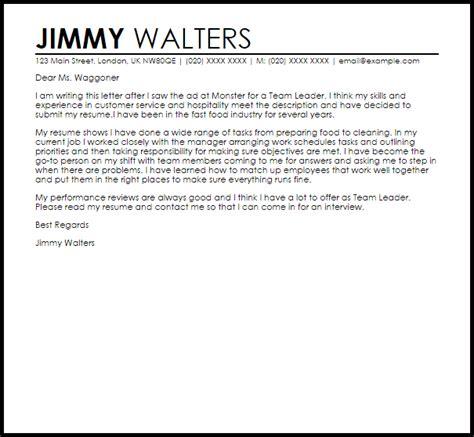 team leader cover letter sle livecareer