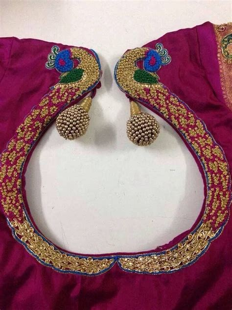 neck pattern blouse design saree blouse with peacock embroidery indian fashion