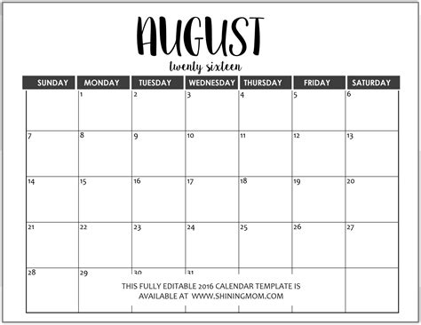 fully editable  calendar templates  ms word format