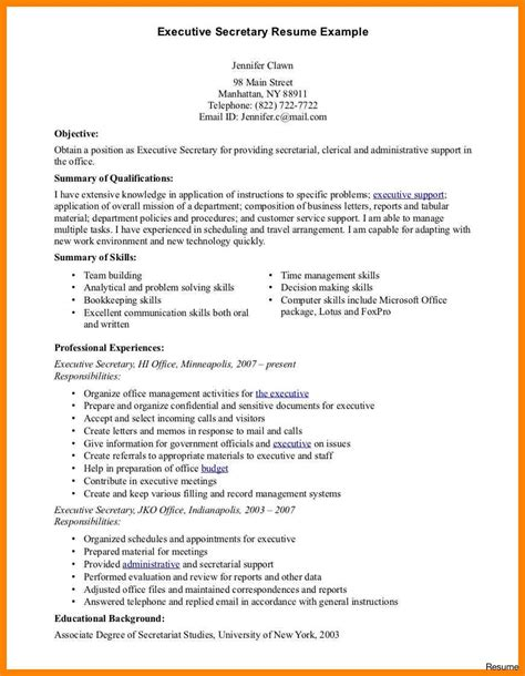 sle resumes for unit secretary secretary resume exles job and template unit sle