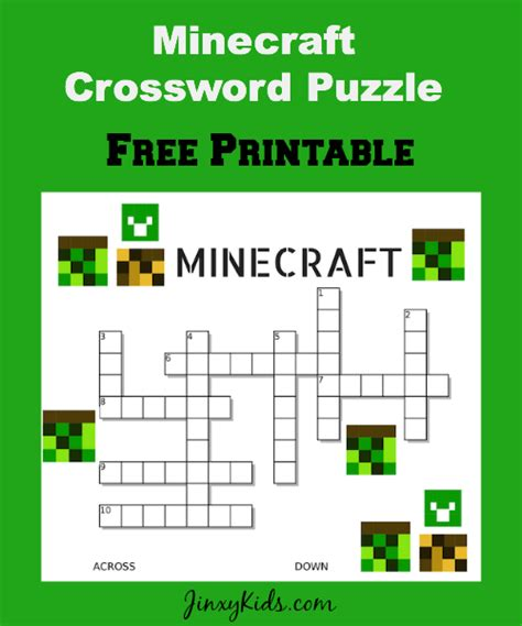printable word search minecraft free printable minecraft crossword puzzle jinxy kids