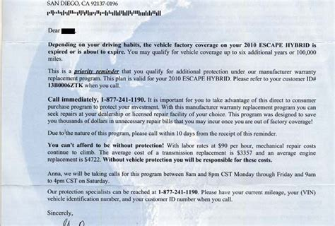 Service Warranty Letter another warranty scam tries a name switcheroo services