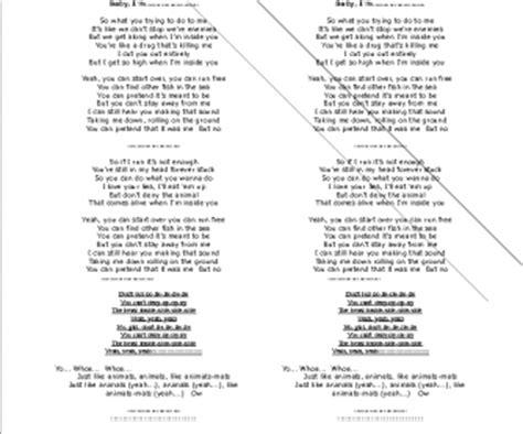 printable lyrics sugar maroon 5 song worksheet animals by maroon 5