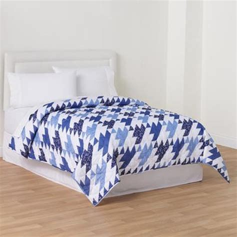 kmart bedspreads and comforters essential home printed quilt blue cottage home bed