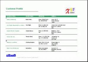 sales customer profile template free excel report sle customer profile