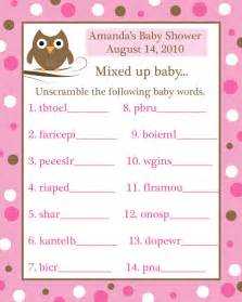 24 baby shower word scramble game cards pink baby owl ebay