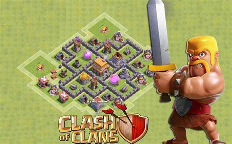 Coc Clash Of Clams 27 Tx clash of clans town 5 defense coc th5 best base layout defense strategy 2016