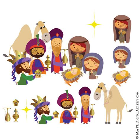 presepe clipart nativity clipart includes three wise