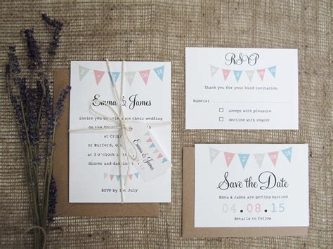 fete bunting wedding stationery suite 187 sj wedding invitations