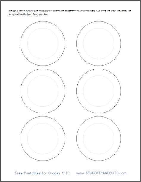 Button Templates Free printable template for 2 1 4 inch buttons student handouts