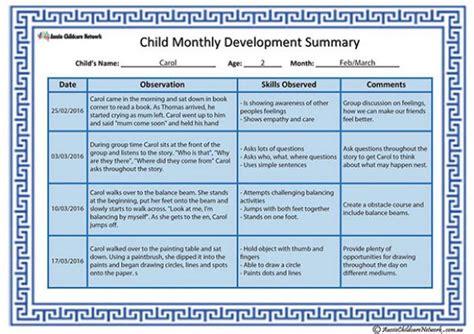 child monthly development summary template aussie
