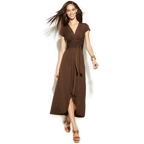 Dress Brown michael kors michael highlow fauxwrap dress in brown chocolate lyst