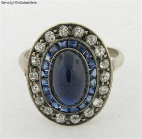 antique deco 18k white gold sapphires diamonds ring ebay