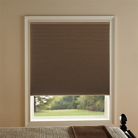 room darkening window treatments kirsch honeycomb room darkening window shades in toffee bed bath beyond