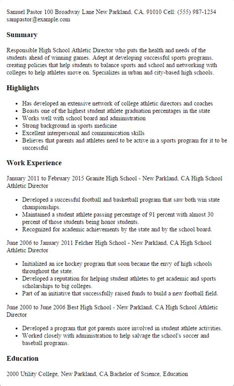 Athletic Director Resume by Professional High School Athletic Director Templates To
