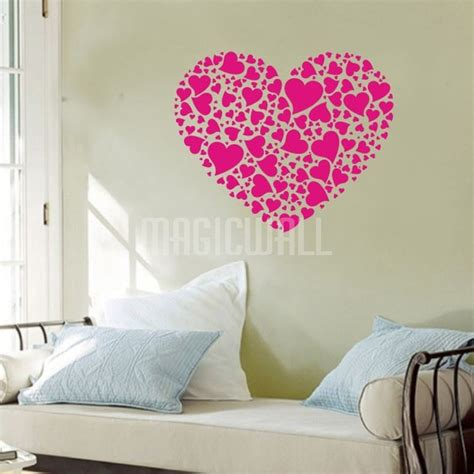 hearts wall stickers large wall decals 2017 grasscloth wallpaper