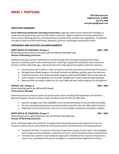 summary of achievements resume exles resume exles for executive summary with experience and