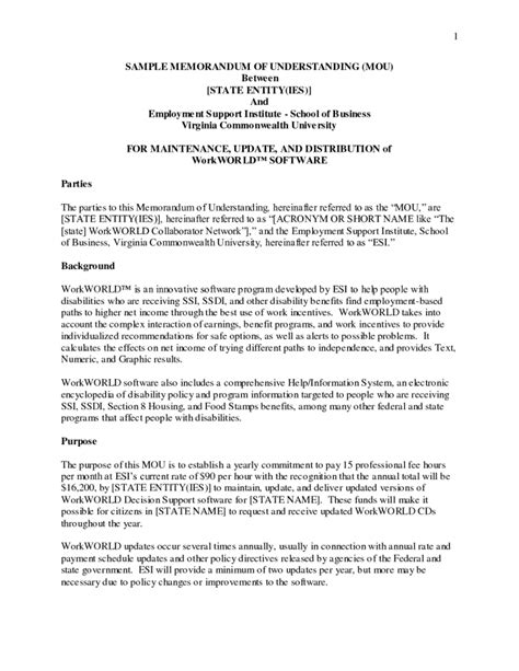 template of mou template memorandum of understanding template