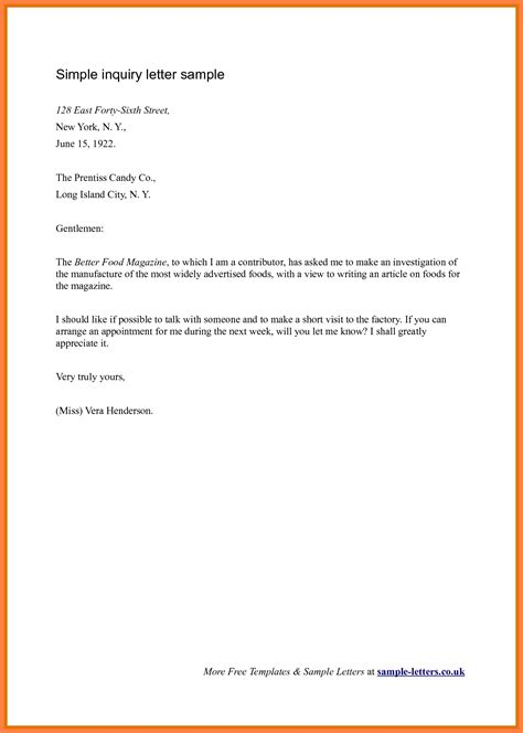 Reservation Letter For Product Business Enquiry Letter Sle The Best Letter Sle