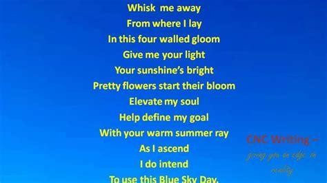blue is about poem blue sky day