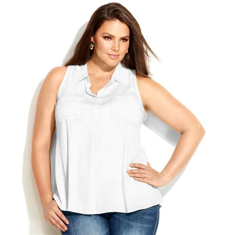 Sleeveless Top Blouse inc international concepts plus size sleeveless blouse in white lyst