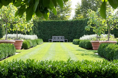 Formal Garden Layout Expansive Lawn Surrounded By Boxwood And Potted Trees For When You Don T Topsoil To Grow