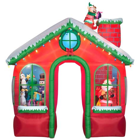 Gingerbread House Outdoor Decorations Holiday Living 10 49 Ft Animated Elf On The Roof Archway